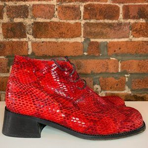 ANDREW STEVENS RED SNAKESKIN LACEUP ANKLE SHOE